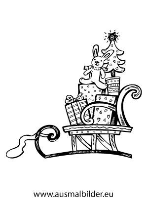 ausmalbilder weihnachtsgeschenke auf einem schlitten. Black Bedroom Furniture Sets. Home Design Ideas