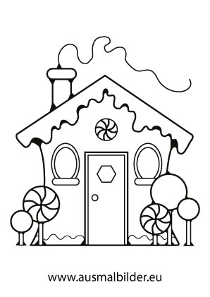 Ausmalbilder Weihnachtshäuser Lebkuchenhaus