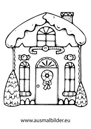 Ausmalbilder Weihnachtshäuser Verziertes Lebkuchenhaus