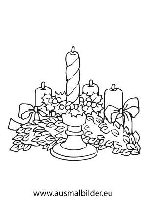 Ausmalbilder Adventskerze Weihnachtskerzen Malvorlagen