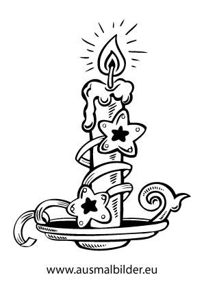 Ausmalbilder Kerze Mit Kerzenstander Weihnachtskerzen Malvorlagen