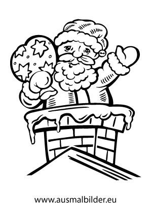 Ausmalbilder Weihnachtsmänner Weihnachtsmann Auf Dem Dach