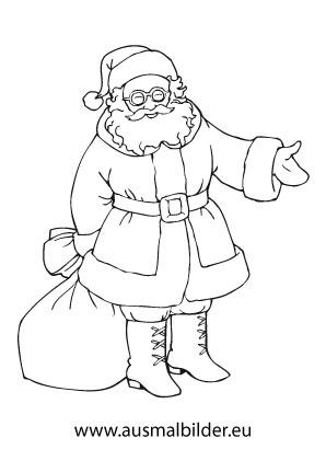 Ausmalbilder Weihnachtsmänner Weihnachtsmann Mit Brille