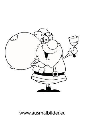 Ausmalbilder Weihnachtsmann Mit Glocke Und Sack Weihnachtsmänner
