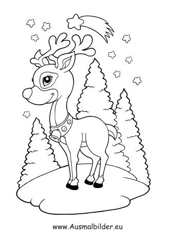 ausmalbilder weihnachten rentiere - vorlagen zum ausmalen gratis ausdrucken