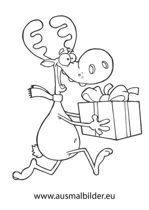 Ausmalbilder Weihnachtsrentier Rentier übergibt Ein Geschenk