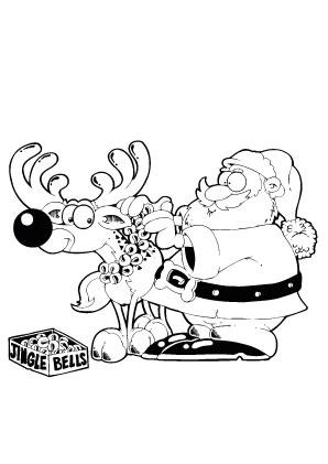 ausmalbilder weihnachtsmann schmückt rentier