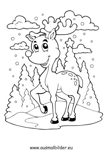 ausmalbilder weihnachtsrentier - weihnachtsrentier malvorlagen