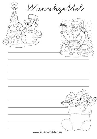 ausmalbilder weihnachten - wunschzettel malvorlagen