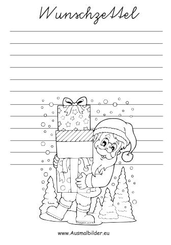 ausmalbilder weihnachtsmann - wunschzettel malvorlagen