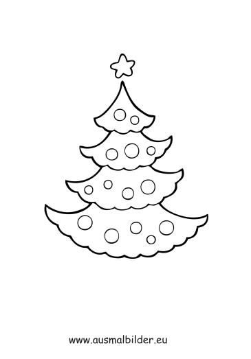 ausmalbilder einfacher weihnachtsbaum - weihnachten