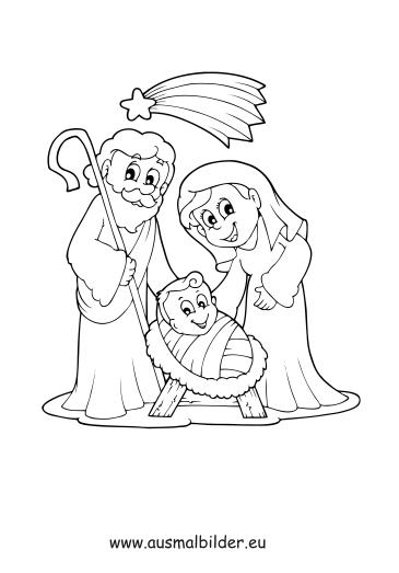 ausmalbilder maria und josef  weihnachten malvorlagen