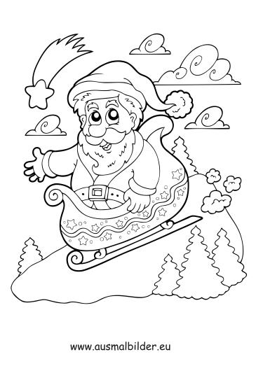 ausmalbilder nikolaus auf schlitten weihnachten malvorlagen. Black Bedroom Furniture Sets. Home Design Ideas