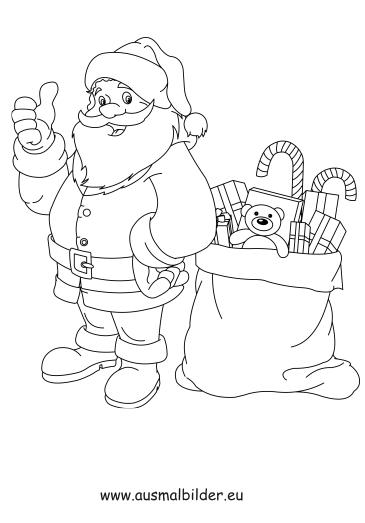 ausmalbilder nikolaus mit geschenken weihnachten malvorlagen. Black Bedroom Furniture Sets. Home Design Ideas