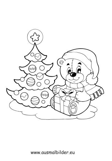 Ausmalbilder Weihnachten Kleiner Bär Weihnachten Malvorlagen