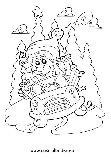 ausmalbilder weihnachtsmann mit auto - weihnachten malvorlagen