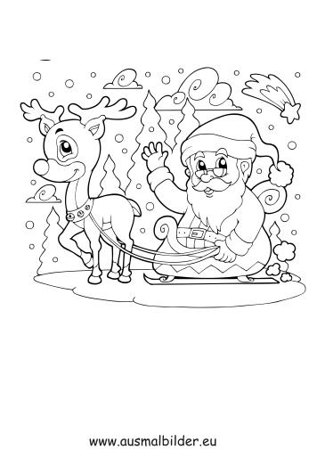 ausmalbilder weihnachtsmann mit schlitten  weihnachten