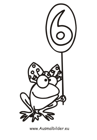 ausmalbild frosch zahl 6 kostenlos ausdrucken