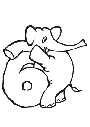 ausmalbild zahl sechs mit elefant kostenlos ausdrucken