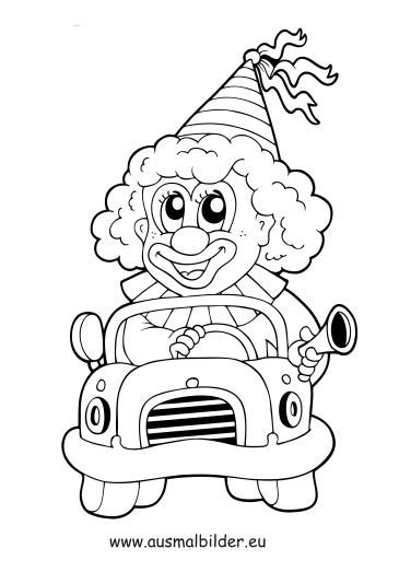 ausmalbilder autofahrender clown  zirkus malvorlagen