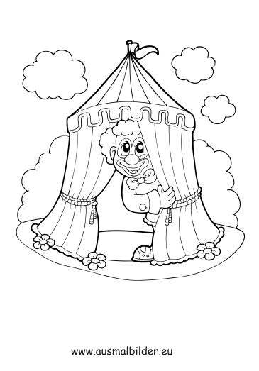 Ausmalbilder Clown Im Zirkuszelt Zirkus Malvorlagen