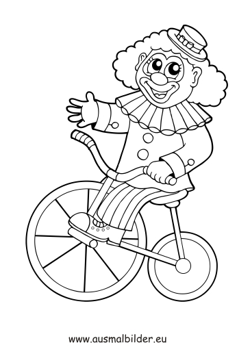 ausmalbild clown mit fahrrad kostenlos ausdrucken