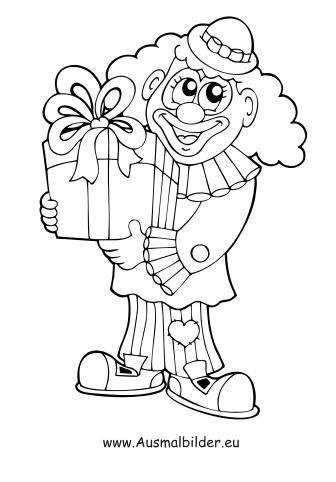 ausmalbild clown mit geschenk kostenlos ausdrucken