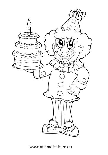 Ausmalbilder Clown Mit Torte Zirkus Malvorlagen