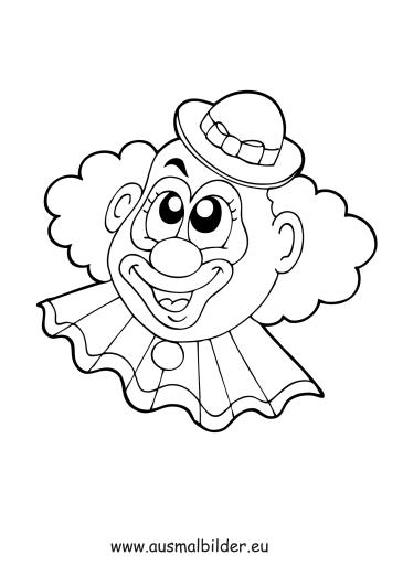 ausmalbilder clownkopf  zirkus malvorlagen