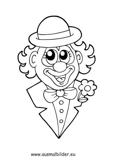 ausmalbilder lustiger clownkopf  zirkus malvorlagen