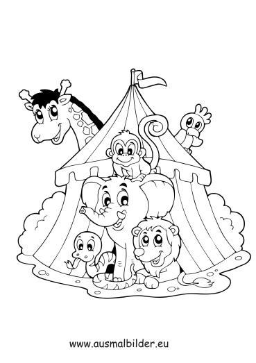 Ausmalbilder Tiere im Zirkus - Zirkus Malvorlagen