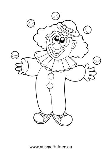 ausmalbild jonglierender clown kostenlos ausdrucken