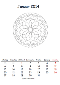 Mandalakalender zum ausmalen