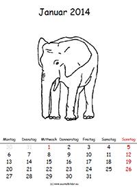 Tierkalender zum ausmalen