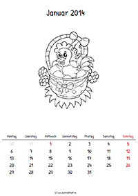 Ausmalkalender zum ausmalen